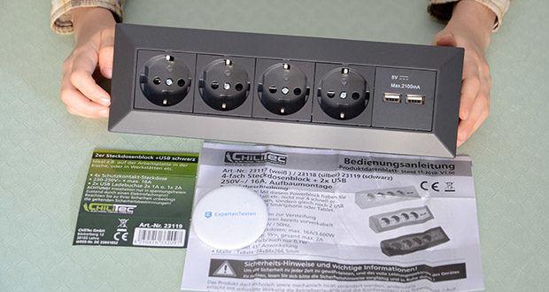 Chilitec 4-fach Steckdosenblock + 2x USB im Test - Front 45° gewinkelt für optimale Ausnutzung der Steckplätze