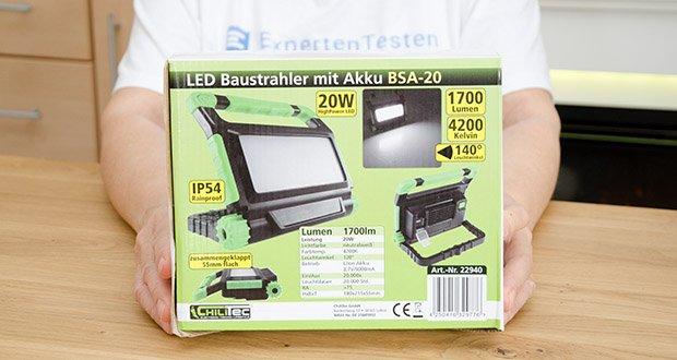Chilitec Akku LED Baustrahler BSA-20 im Test - kompakt, griffig und stark in der Leuchtkraft