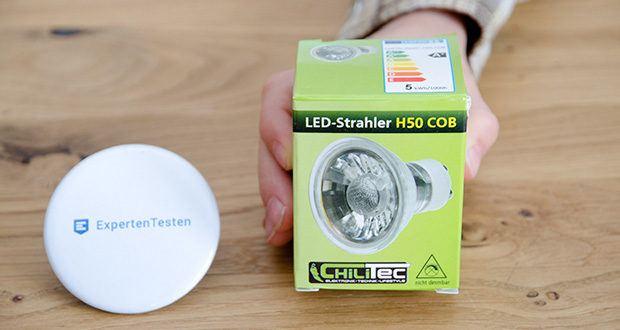 "Chilitec LED Strahler GU10 H50 COB+ im Test - LED Strahler GU10 ""H50 COB"" 1 COB, 3000k, 400lm, 230V/5W, warmweiß"