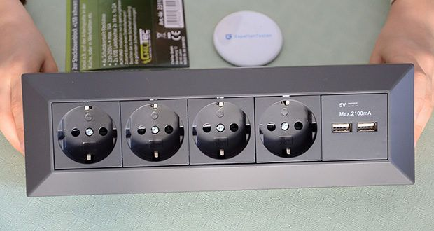 Chilitec 4-fach Steckdosenblock + 2x USB im Test - Maße : TxBxH: 80x265x80mm