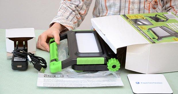 Chilitec Akku LED Baustrahler BSA-20 im Test - diese Baustrahler lassen sich zusammengeklappt leicht in Schublade oder Handschuhfach des Autos verstauen