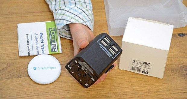 Welt-Reiseadapter mit 4x USB-Ladegerät im Test - Leistung max. bei 110V/800W, 230V/1840W