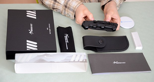 BERGKVIST K10 Zweihandmesser Taschenmesser im Test - Kunstledertasche + handlicher Mini-Schleifstein inklusive