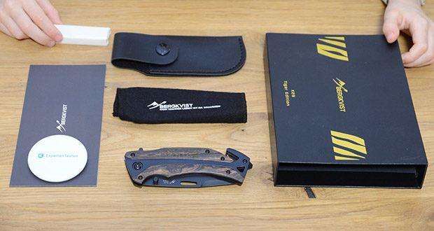 BERGKVIST K29 Tiger Jagdmesser im Test - mit einem Mini Messerschärfer und einer schwarzen Kunstleder Messertasche