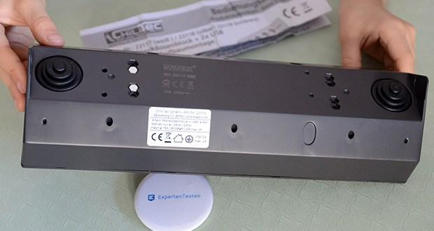 Chilitec 4-fach Steckdosenblock + 2x USB im Test - das Gehäuse ist um 90° gewinkelt und ideal für die Installation in Ecken, auf Arbeitsflächen oder als Unterbausteckdose unter dem Küchenschrank