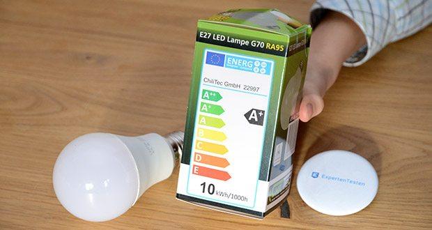 Chilitec LED Glühlampe E27 RA95 im Test - Energieeffizienzklasse A+