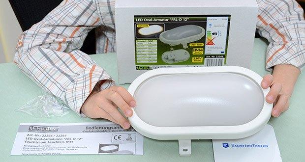 Chilitec LED Oval-Armatur FRL-O 12 im Test - Schutzart IP44: auch für Feuchtraum & Außen geeignet!