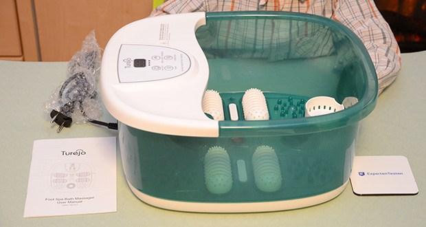 Turejo Fußbad mit Vibration im Test - Temperatur von 35-48°C und hält konstant