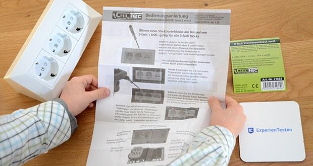 Chilitec 3-fach Steckdosenblock im Test - der Anschluss darf nur durch fachkundiges Personal erfolgen