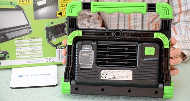 Chilitec Akku LED Baustrahler BSA-20 im Test - inklusive 230V Stecker-Ladegerät 5V/2A