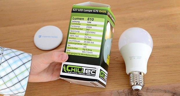 Chilitec LED Glühlampe E27 RA95 im Test - Spannung 230V/50Hz, Sockel E27, 100% Hell 0,2 Sek.