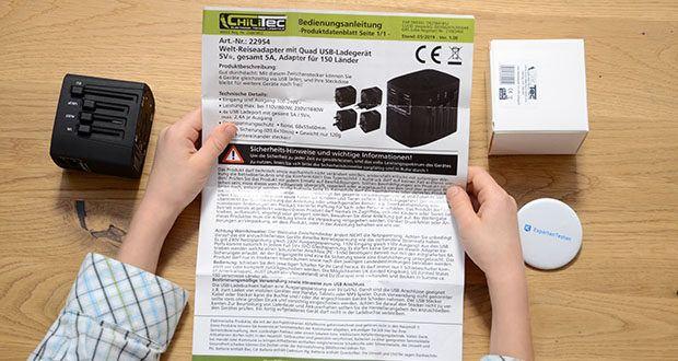 Welt-Reiseadapter mit 4x USB-Ladegerät im Test - 4x USB Ladeport mit gesamt 5A / 5V=, max. 2,4A je Ausgang
