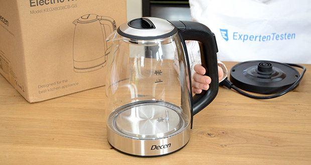DECEN Glaswasserkocher mit Temperatureinstellung im Test - besteht aus hochwertigem Borosilikatglas und Edelstahl 304 in Lebensmittelqualität