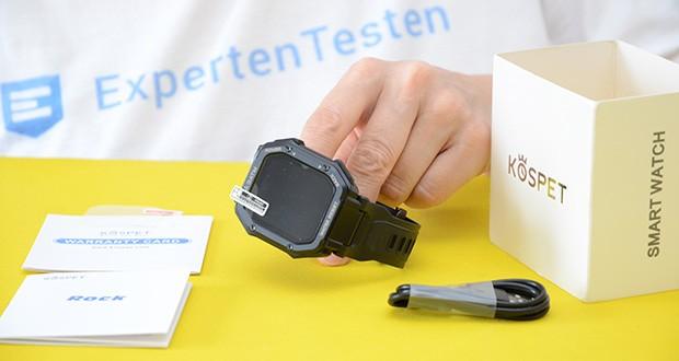KOSPET Rock Smartwatch im Test - Lieferumfang: 1x KOSPET Rock Smartwatch, 1x Ladekabel, 1x Schutzfolie, 1x Garantiekarte, 1x Bedienungsanleitung