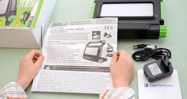 Chilitec Akku LED Baustrahler BSA-20 im Test - Ein/Aus 20.000x • Leuchtdauer 20.000 Std.