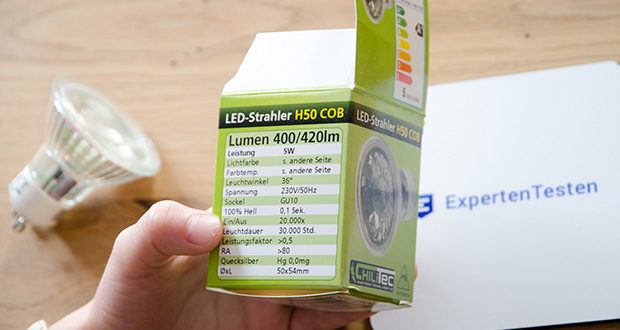 Chilitec LED Strahler GU10 H50 COB+ im Test - Lichtstrom 400lm, Leistung 5W, Leistungsfaktor >0,5
