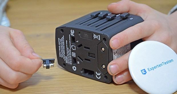 Welt-Reiseadapter mit 4x USB-Ladegerät im Test - Überspannungsschutz; mit 8A Sicherung