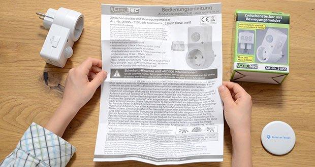 Chilitec Zwischenstecker mit Bewegungsmelder im Test - LED geeignet - Max. 300W (induktive Last), Minimum Last 1W