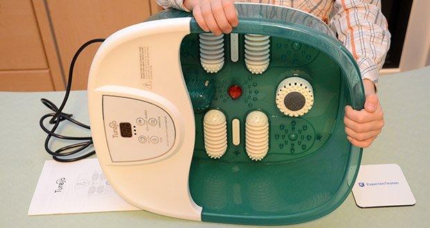 Turejo Fußbad mit Vibration im Test - verfügt über 4 manuelle Massagerollen, die fast Ihre gesamte Sohle berühren, um Akupressurpunkte zu massieren