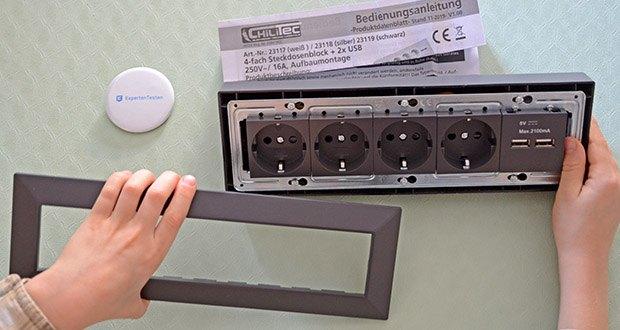 Chilitec 4-fach Steckdosenblock + 2x USB im Test - Metall-Innenrahmen zur Versteifung und Zugentlastung für die Anschlussleitung