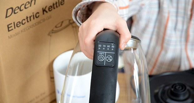DECEN Glaswasserkocher mit Temperatureinstellung im Test - Temperaturregelung: 50-100℃