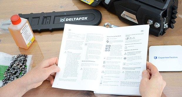 Deltafox Elektro-Kettensäge DG-ECS1830 im Test - verfügt über einen AUTO-STOP der die Kette in unter 0,1 Sekunden bremst. Der eingebaute Kettenfangbolzen, fängt im Falle eines Kettendefekts, das schlagende Kettenende ab und sorgt so für hohe Sicherheit