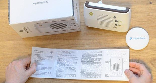 ONE SANTI Ultraschall Schädlingsbekämpfer im Test - in deutschen Anleitung ist eindeutig beschrieben, welcher Modus gegen welche Plage gewiss hilft
