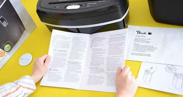 Peach Altenvernichter PS500-50 im Test - Platz für 80 Blatt 70g/m² (70 Blatt 80g/m²) im Papiereinzug oder 6 Blatt 70g/m² (5 Blatt 80g/m²) auf einmal bei manueller Zufuhr