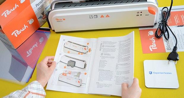 Peach Thermobindegerät PB200-70 im Test - durch Erhitzung im Gerät wird der Leim, der sich im Rücken der Bindemappen befindet, flüssig und verbindet sich dann mit den Blättern