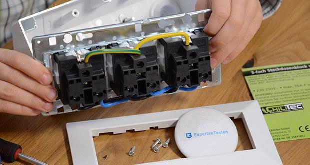 Chilitec 3-fach Steckdosenblock im Test - Steckdosen im Inneren bereits vorverkabelt