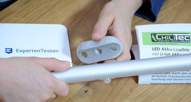 Chilitec LED Akku-Leuchte im Test - Magnethalterung mit Schraub- oder Klebebefestigung