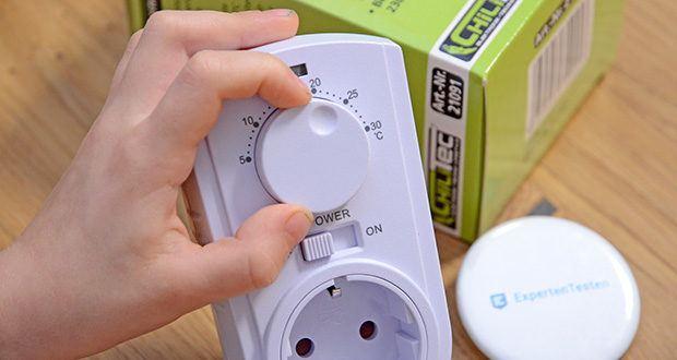 Chilitec Steckdosen-Thermostat ST-35 ana im Test - Sie stellen einfach die gewünschte Schalt-Temperatur von +5 bis +30°C ein, und bei Über- oder Unterschreiten dieses Sollwertes schaltet das Thermostat den angeschlossenen Verbraucher