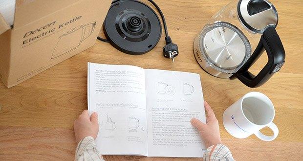 DECEN Glaswasserkocher mit Temperatureinstellung im Test - dank der fortschrittlichen Sicherheitstechnologie schaltet sich dieser Teekessel automatisch ab, sobald Sie die eingestellte Temperatur erreicht haben