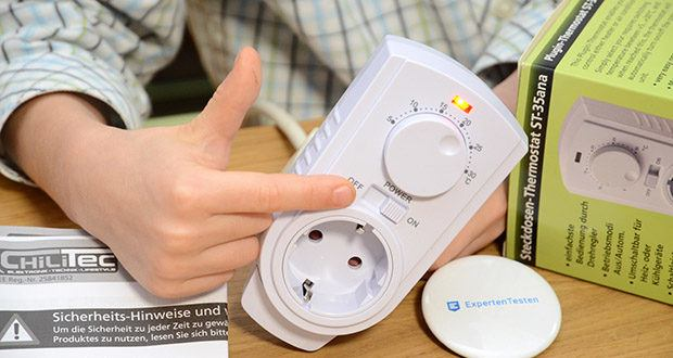 Chilitec Steckdosen-Thermostat ST-35 ana im Test - LED Anzeige grün oder rot; Hauptschalter EIN/AUS