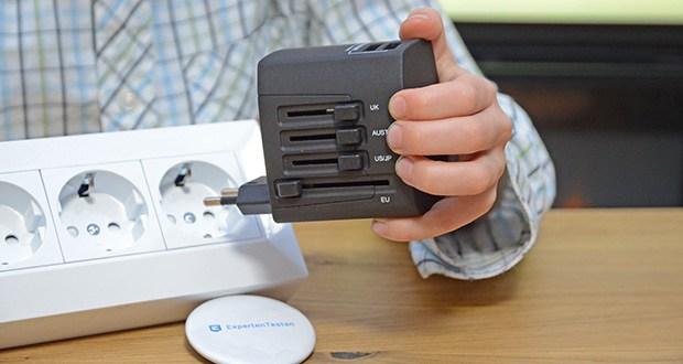Welt-Reiseadapter mit 4x USB-Ladegerät im Test - es darf immer nur 1 Schiebeschalter kom- plett vor oder komplett zurückgeschoben werden