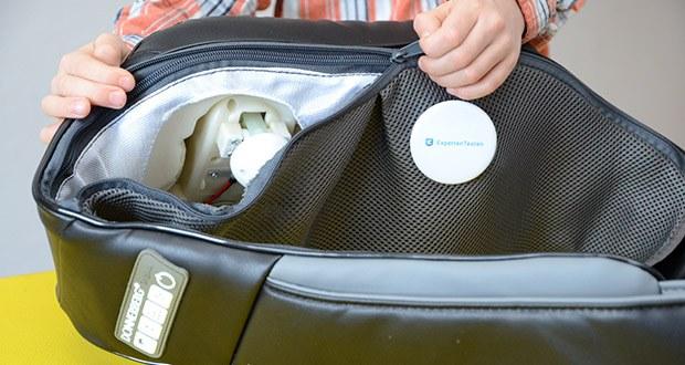 Donnerberg Klopfy NM-088 Nackenmassagegerät im Test - dank Zipper kann man Bezüge ganz einfach vom Massagegerät abnehmen und bei 30° in der Waschmaschine reinigen