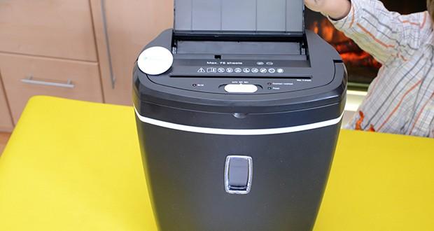 Peach Altenvernichter PS500-50 im Test - der große 21 Liter Auffangkorb bietet Platz für bis zu 120 A4 Blätter