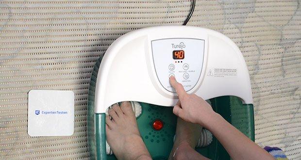 Turejo Fußbad mit Vibration im Test - stellen Sie einfach die gewünschte Temperatur ein und das Wasser erwärmt sich und hält sich warm, um Ihnen ein stabiles, warmes Fußbad zu bieten