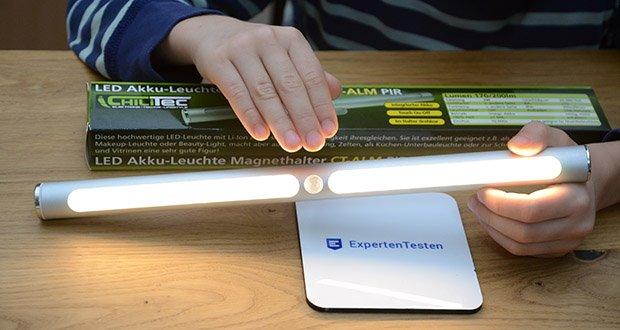 Chilitec LED Akku-Leuchte im Test - Tag/Nacht Sensor: PIR schaltet nur im Dunkeln ein