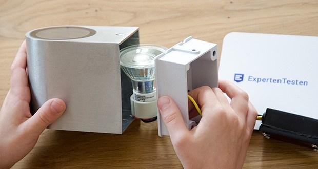Chilitec LED-Wandleuchte CTW-1 im Test - verfügt über eine Wetterschutz Installationsbox welche die Lüsterklemmen beinhaltet