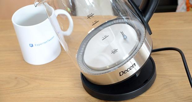 DECEN Glaswasserkocher mit Temperatureinstellung im Test - alle Edelstahl-Innenabdeckungen und alle Oberflächen, die mit Wasser in Kontakt kommen, bestehen aus lebensmittelechten Materialien