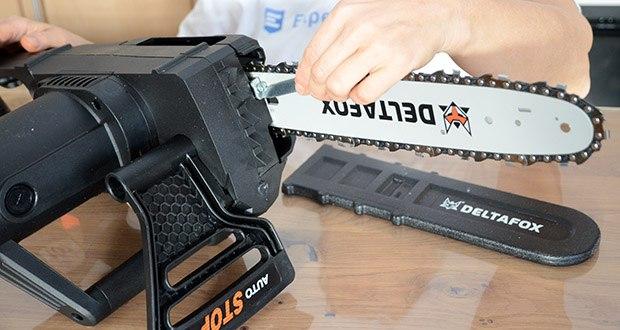 Deltafox Elektro-Kettensäge DG-ECS1830 im Test - durch den mitgelieferten Werkzeugschlüssel lässt sich die Kette einfach montieren und jederzeit nachspannen