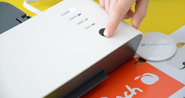 Peach Laminiergerät PL120 im Test - dank 1-Knopf Design und praktischer ABS Funktion zur Beseitigung von Folienstaus