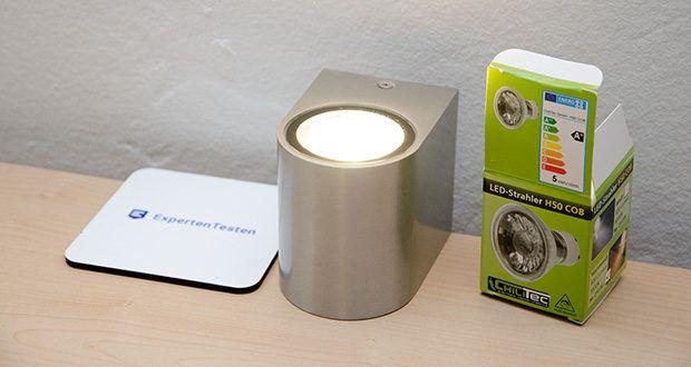 """Chilitec LED Strahler GU10 H50 COB+ im Test - die hochwertige """"H50 COB"""" bietet Ihnen dank der kräftigen 5Watt COB LED eine überragende Leuchtkraft"""