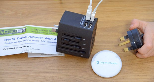 Welt-Reiseadapter mit 4x USB-Ladegerät im Test - mit diesem Zwischenstecker können Sie 4 Geräte gleichzeitig via USB laden, und Ihre Steckdose bleibt für weitere Geräte noch frei