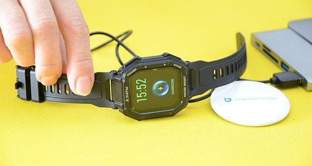 KOSPET Rock Smartwatch im Test - Ladezeit: ca. 2 Stunden