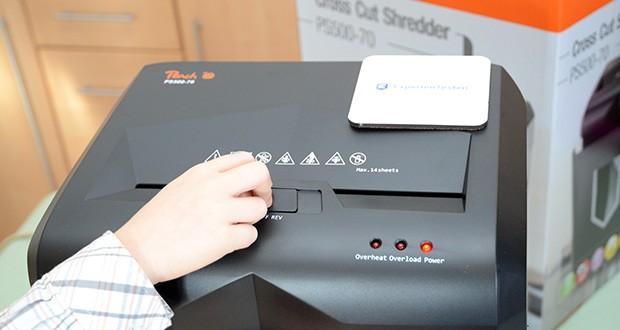 Peach Altenvernichter PS500-70 im Test - kann bis zu 30 Minuten im Dauerbetrieb arbeiten und schreddert bis zu 16 Blatt 70g/m² (14 Blatt 80g/m²) in einem Vorgang