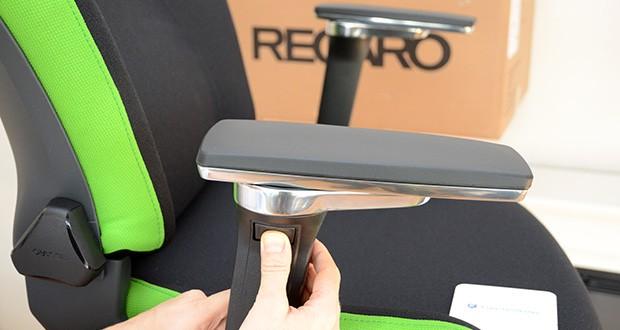 Recaro Gamingstuhl Exo FX im Test - Höhe der 5D-Armlehnen (Min / Max) ab Sitzfläche: 200 mm – 300 mm