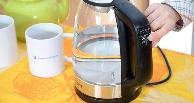DECEN Glaswasserkocher mit Temperatureinstellung im Test - kann je nach Art des zubereitenden Getränks verschiedene Temperaturen zwischen 50 °C und 100 °C einstellen, und die genaue Temperatur kann für eine perfekte Zubereitung geregelt werden