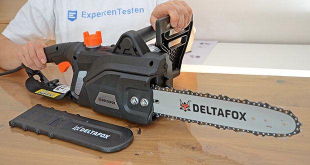 Deltafox Elektro-Kettensäge DG-ECS1830 im Test - durch den integrierten AUTO STOP mit 2-Hand- Schutzschalter stoppt die Kette in unter 0,1 Sekunden